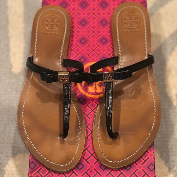 3acc6a99a946f3 Tory Burch Shoes - Tory Burch Black Leighanne Flat Thong Sandal